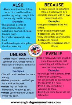 How To Use Also, Because, Unless, Even If, Definition and Examples - English Grammar Here English Grammar Rules, Teaching English Grammar, English Vocabulary Words, English Language Learning, English Phrases, Learn English Words, English Study, Essay Writing Skills, English Writing Skills