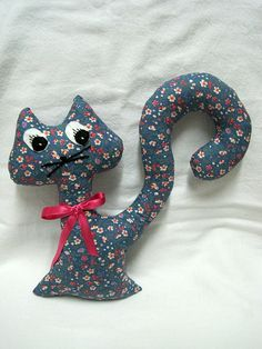 Cat doll  Kitty  Blue and Pink flowered Pussycat  by shusha64, $25.00