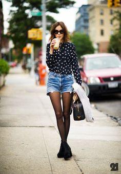 black tights + shorts + printed blouse.