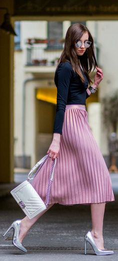Pleated skirt + spring heels + Barbora Ondrackova + metallic stilettos  Top: Zara, Skirt: Topshop, Heels: Asos, Bag: Chanel.
