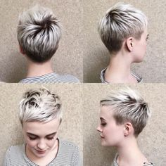 70 Short Shaggy, Spiky, Edgy Pixie Cuts and Hairstyles - Blonde Pixie with Short Angled Layers - Choppy Pixie Cut, Edgy Pixie Cuts, Short Pixie Haircuts, Hairstyles Haircuts, Asymmetrical Pixie, Long Pixie, Pixie Cut Shaved Sides, Short Hair Cuts For Women Edgy, Blonde Pixie Haircut