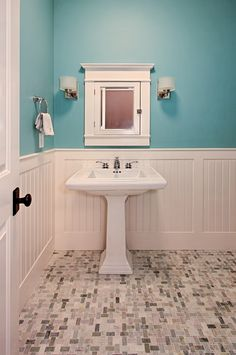 Wainscotting and Pedestal Sink in Powder Room