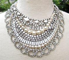 White Bridal Statement Necklace Wedding Jewelry Rhinestone Pearl Chunky Vintage Wedding (Tom Binns Inspirired) - On the Rocks With A Twist