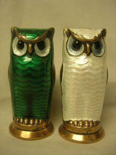 David Andersen Sterling Silver Enamel OWL Salt Pepper Shakers