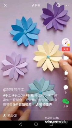 How To Make Paper Flowers, Paper Flowers Craft, Paper Crafts, Diy Crafts, Origami Lily, Origami Paper, Paper Flower Tutorial, Origami Tutorial, Card Making Tips