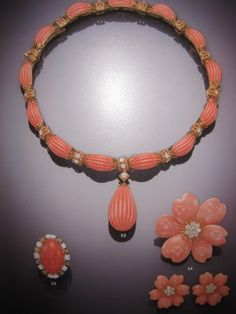 Coral and Diamond Parure Necklace Brooch, Ring and Earrings ~ Begum Salimah Aga Khan