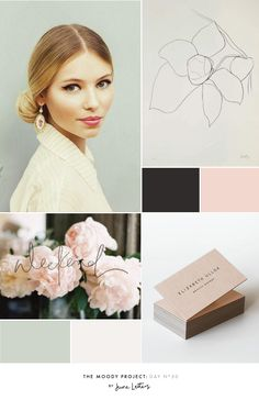 Beautiful and feminine inspiration board and color palette. Peonies, peachy-pink, delicate script, and a beautiful image of a woman with 1950's inspired styling - super girly :) The Moody Project: Day 50 — June Letters Design