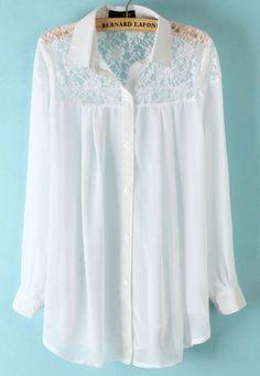 White Long Sleeve Shoulder Lace Hollow Chiffon Blouse - Sheinside.com Mobile Site