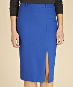 Loving this Cobalt Blue Audley Crepe Wool-Blend Skirt on #zulily! #zulilyfinds
