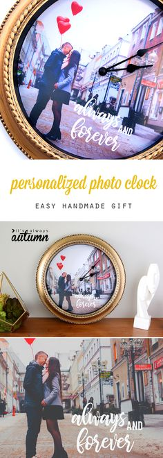 Wedding Gifts Diy How to make a personalized photo clock. Great DIY gift idea for Mother's Day, Father's Day, weddings, anniversary, and more! Diy Gifts For Dad, Easy Handmade Gifts, Fun Gifts, Homemade Gifts, Diy Wedding Backdrop, Diy Wedding Decorations, Mason Jar Crafts, Mason Jar Diy, Photo Clock