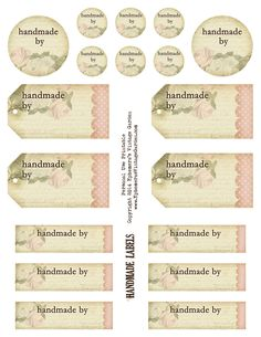 ☆☆Free  and beautiful Printable - 'Handmade By' Tags and Labels for jewelry or crafts