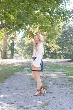 White Bell Sleeve Top // Button Up Denim Skirt