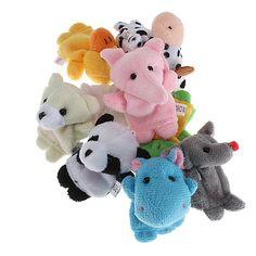 10Pcs Velvet Finger Animal Baby Education Puppet Play Learn Story Plush Toy