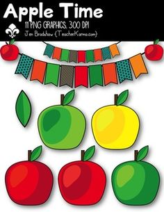 Apple Time Clipart!  Merry Christmas  You will LOVE these ** 11 **  graphics that are so much FUN! They are absolutely perfect for adding to parent newsletters, literacy and writing stations, activities, printables and student worksheets, class invitations, etc.