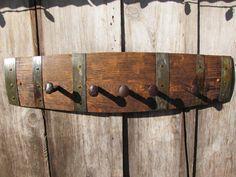 rustic oak wine barrel stave railroad spike coat rack