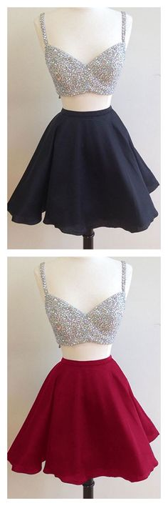 Spaghetti Straps homecoming dresses, 2k17 homecoming dresses,satin homecoming dresses,two pieces homecoming dresses, short mini cocktail dresses, party dresses, graduation dresses,prom dresses #SIMIBridal #homecomingdresses