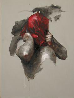 """Xavier Jallais - """"Automorphie au sac rouge"""" - Ash, sand, acrylic & oil on canvas, 89 x 116 (cm) Chef D Oeuvre, Portrait, Painting, Ash, Canvas, Fine Art Paintings, Radiation Exposure, Paint, Tela"""