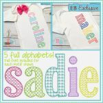 SKETCH LOWERCASE SET - MOTIF FILL - 5 FULL ALPHABETS Embroidery Designs Patterns