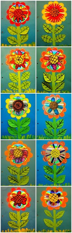 Cardboard, painted flowers