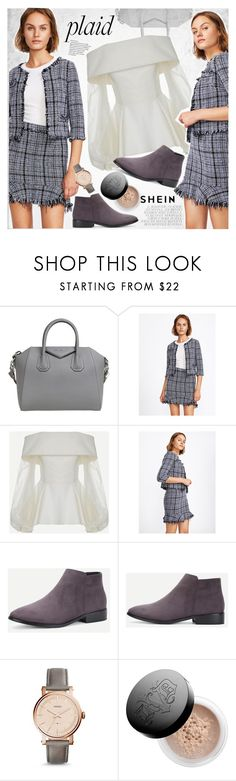"""Check It: Plaid"" by vanjazivadinovic ❤ liked on Polyvore featuring Givenchy, FOSSIL, Kat Von D, plaid, Sheinside, stripedpants and polyvoreeditorial"