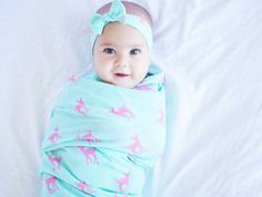 Mint and pink fawn swaddle set/knit swaddle and headband/newborn