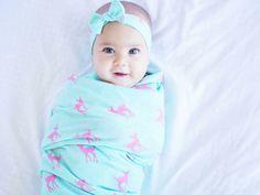 Mint and pink fawn swaddle set/knit swaddle and headband/newborn
