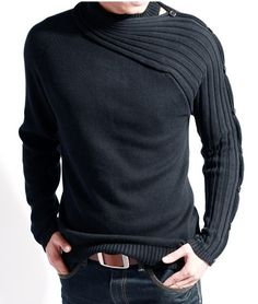 2011 New high quality!Fashion Asymmetric sleeve sweater designer/Retail, wholesale/black gray