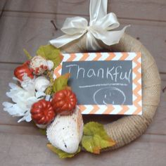 Beautiful hanging fall wreath wrapped with by Freebernshells