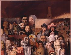 The Family, 1974,  Samuel Bak,  Oil on canvas  200x160 cm.  One of My Favorites. It is ominous and exquisite, it is silently screaming....a must see of your lifetime.