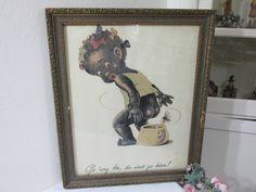 Antique picture Black Americana Child Vintage Bathroom Decor by LuRuUniques on Etsy