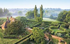 The rondel in the Rose Garden seen from the castle tower at Sissinghurst. The gardens were first opened to the public in June 1938.