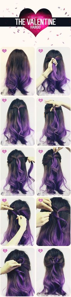 40 Cute And Romantic Hairstyles For Valentine's Day, - Haarfarben Valentine's Day Hairstyles, Romantic Hairstyles, Pretty Hairstyles, Underlights Hair, Hair 2018, Crazy Hair, Love Hair, Hair Dos, Messy Hair