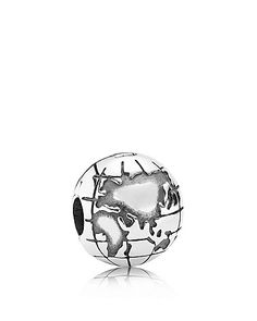 Pandora Clip - Sterling Silver Globe, Moments Collection | Sterling silver | Imported | Style #791182 | This item is only compatible with products from the Moments Collection; it is not compatible wit