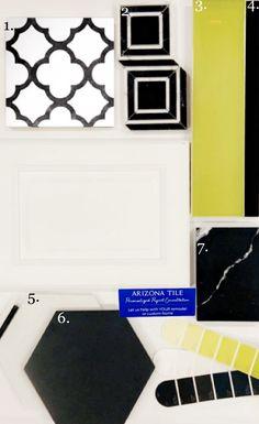 Hex Tile, Subway Tile, Quartz Countertops, White Cabinets, Porcelain Tile, Recycled Materials, Black White, Deco, Deko
