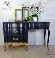 Coastal Blue & Burnished Pearl Effects Desk | General Finishes Design Center