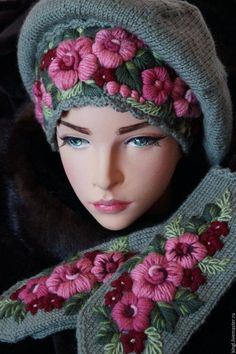 Best 11 Forum: crochet and knitting Wool Embroidery, Embroidery Patterns, Knitting Patterns, Crochet Patterns, Knit Crochet, Crochet Hats, Crochet Accessories, Embroidered Flowers, Turban