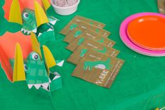 Dino Roaaar!!  Bright, vibrant, and fun- a great way to celebrate with our favourite extinct creatures. Silly hats and crazy candles, vivacious pinks, greens, yellows, and oranges will promise an unforgettable day for any little Dino expert! Silly Hats, Party In A Box, Dinosaur Party, Extinct, Vibrant, Creatures, Bright, Candles, Handmade Gifts