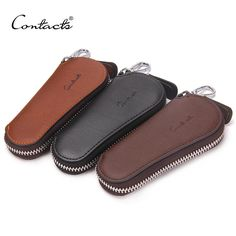 CONTACT'S Men Genuine Cow Leather Bag Car Key Wallets Fashion Women Housekeeper Holders Carteira Keychain Zipper Key Case Pouch *** Click on the image for additional details.