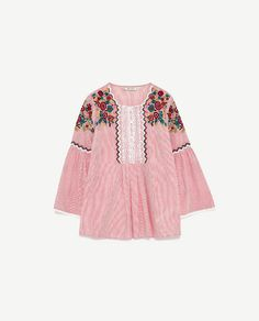 f5c9f43eebb Image 8 of STRIPED BLOUSE WITH EMBROIDERY from Zara Floral Blouse