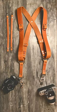 Dual Camera Harness is Tan Full Grain Leather- Supple and very high quality, made out of full grain leather.