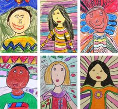 first-grade-self-portraits. oil pastel. pattern background. expression. line/shape express feeling