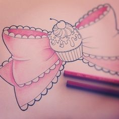 cute bow tattoo drawing but without the cupcake.. I'd like this on the back of my thigh