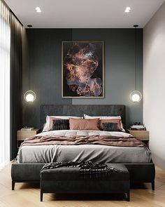 Bedroom Wall, Bedroom Decor, Wall Decor, Home Interior, Interior Design, Modern Bedroom, Dark Cozy Bedroom, Eclectic Bedrooms, Contemporary Bedroom