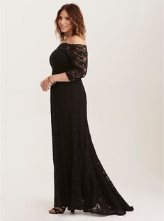 817ee3887e6 Plus Size Special Occasion Black Lace Off Shoulder Gown