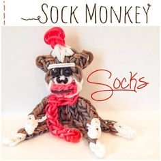 SOCKS the Sock Monkey. Designed and loomed by Ann Marie Grieco on the Rainbow Loom. (Rainbow Loom FB page)