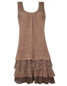 Cowgirl Brown Vintage Lace Ruffle Dress