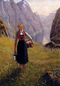 A Girl with Goats by a Fjord, Hans Dahl Swedish Army, Dahl, Renaissance Art, Vintage Beauty, Artist Art, Cute Art, Norway, Illustrators, Giclee Print