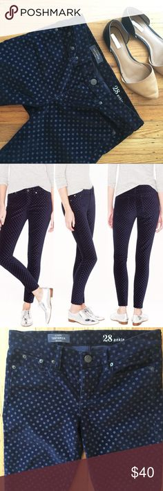 "J Crew Velvet Polka Dot Toothpick Ankle Jean - Size: 28 - Material: Cotton/Spandex Velvet  - Condition: EUC  - Color: Navy Blue  - Pockets: 5 - Style: Skinny Ankle Velvet Polka Dot  -Stretch: Yes   *Measurements (approximation taken laying flat): *   Waist: 16""  Rise: 8.5"" Inseam: 28"" Leg Opening:6"" J. Crew Jeans Ankle & Cropped"