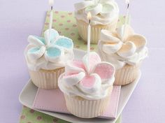 Flower cupcakes: made these for a bakesale once. i put a jellybean in the middle of the mallow-flowers instead of a candle. so cute and easy!