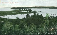 Vintage postcard of Bras d'Or Lakes, courtesy of NS Museum. Cape Breton, Canada Travel, Nova Scotia, Lakes, The Good Place, Museum, Island, Mountains, World
